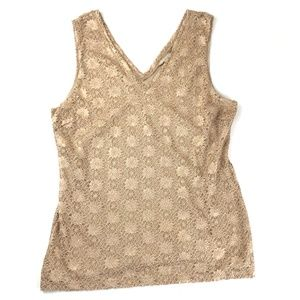 Banana Republic gold lace tank sleeveless top